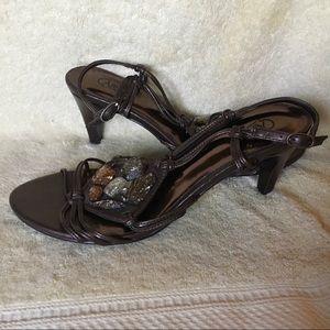 Carlos Brown Embellished Heeled Sandals, Sz 6.5